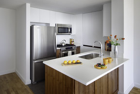 Gourmet kitchens feature stainless steel appliances.