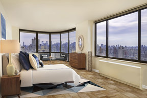 Grand layouts with floor-to-ceiling windows feature stunning city views.