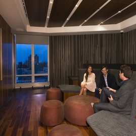 Adjacent to the entertainment lounge, 1214 Fifth Avenue's state-of-the-art media room...