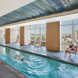 1214 Fifth Avenue's heated, 60-foot indoor pool is the true lap of luxury: pristine and staffed with a professional lifeguard during business hours.