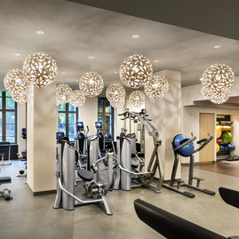 The on-site fitness center offers state-of-the-art equipment.