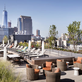 The rooftop sun terrace at 261 Hudson was designed by the acclaimed HMWhite.