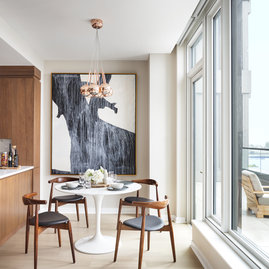 Separate breakfast nook offers views of the Hudson.
