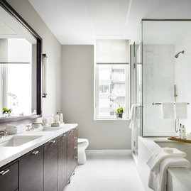 Master bathrooms feature imported Bianco Dolomite polished marble.