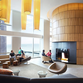 Residents can relax in The Library, an elegant lounge overlooking Lake Michigan.