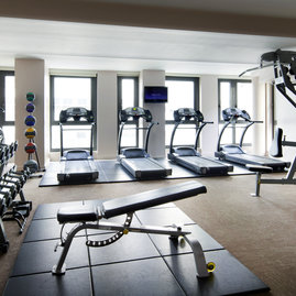 Enjoy a workout with a view in the private fitness center.
