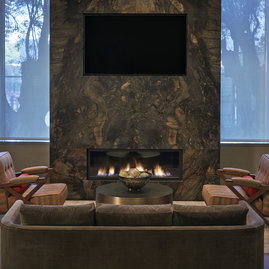 The technology lounge includes a fireplace.