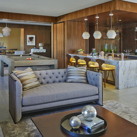 Residents can enjoy socializing in the penthouse lounge.