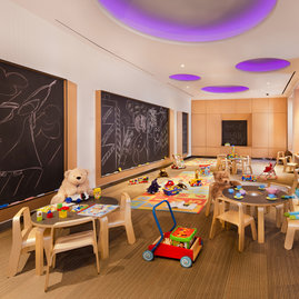 The children's playroom is right off the lobby and designed to delight your little explorer with space for imaginative play and large motor-skill development.