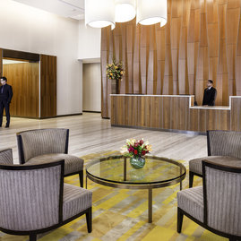 The lobby is attended 24 hours a day by a doorman, concierge, and lobby attendant.