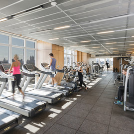 The private, on-site health center is staffed and operated by Iowa Sports exclusively for residents, and features a fitness lounge, plus locker and shower facilities.