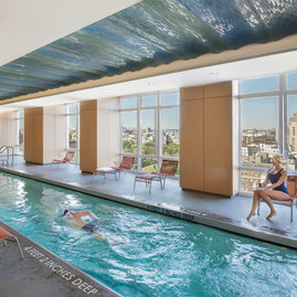Even the pool has a view — a heated, 60-foot lap pool is staffed by a professional lifeguard.