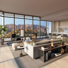 Sun-filled great rooms feature expansive floor-to-ceiling windows and private balconies to take in the breathtaking views.