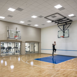 Enjoy the convenient in-building basketball court to shoot hoops.