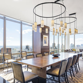 A reservable dining area is among the 20,000 square feet of amenity space available to residents of The Easton.