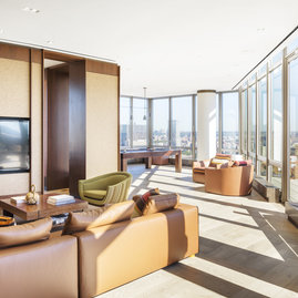 The penthouse amenity suite includes a resident lounge, billiards room, dining, and full service kitchen.