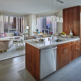 Residences feature open kitchens and stainless steel appliances from Fisher & Paykel and Bosch.
