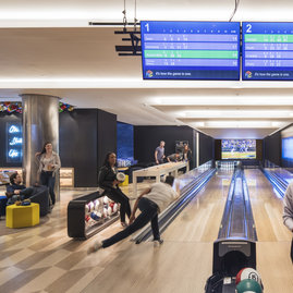 Art in the building, including the neon piece in the private bowling alley, was chosen by Andre Kikoski Architect with art advisor Alexander DiPersia.