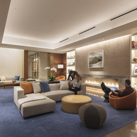 Relax in the residents-only library and lounge.