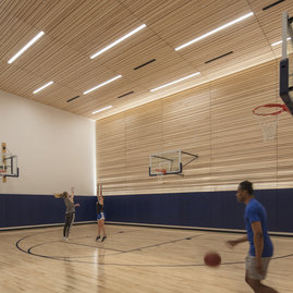 The building offers a regulation basketball court for resident use.