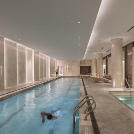 Andre Kikoski Architect designed the 25-meter swimming pool and adjacent spa.