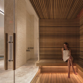 The luxurious spa includes sauna.