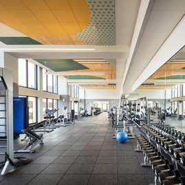 The residents-only fitness center features state-of-the-art equipment and a separate yoga studio.