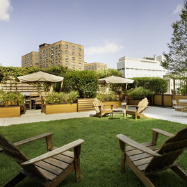 The manicured private garden offers a patch of greeenspace to unwind.