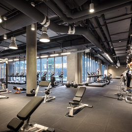 The state-of-the-art private fitness center by Equinox® features curated equipment and private yoga and personal training studios.