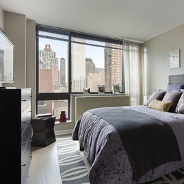 Bedroom closets are customizable at One Union Square South.