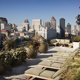 Take in the view from a lounge chair on the building's landscaped rooftop sun terrace.