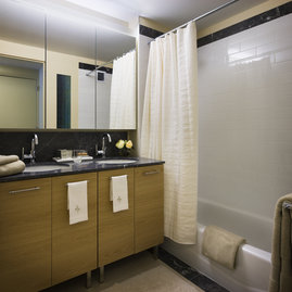 Bathrooms include luxurious touches such as quality fixtures and double vanities.