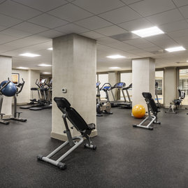 Getting to the gym is easy when you have a state-of-the-art fitness center in your own building.