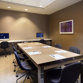 A fully furnished and wired conference room, large enough to comfortably seat eight people, is available for residents' use.