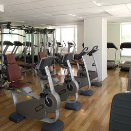 On-site fitness center features state-of-the-art equipment.