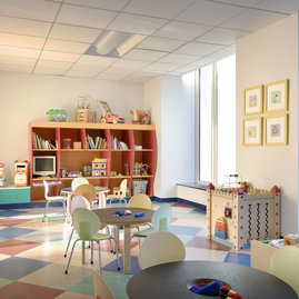 The children's playroom features low-VOC paint and natural flooring.