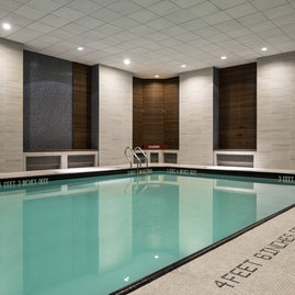 The building has a heated, indoor swimming pool.