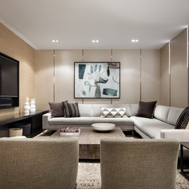 The private resident's lounge is designed by architect Robert A.M. Stern.