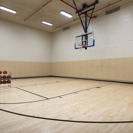 The half basketball court offers a regulation-height basketball goal.
