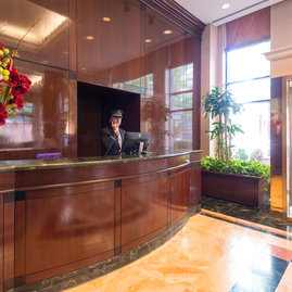The classically oppulent lobby of The Strathmore is staffed 24 hours a day.
