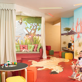 Families can take advantage of the available children's playroom.