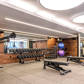 Designed to seamlessly integrate fitness, relaxation and wellness into your daily life, our on-premises state-of-the-art health and fitness center includes cardio and strength equipment.