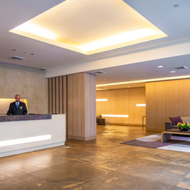 The Sierra lobby designed by Studio Gaia to be timeless and simple yet strong is attended 24 hours a day.
