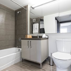 Tri-view medicine cabinets in bathrooms offer plenty of storage.