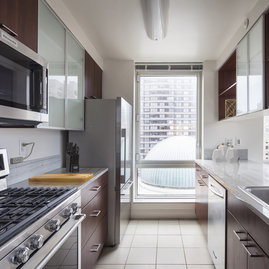 Open kitchens with stainless steel appliances