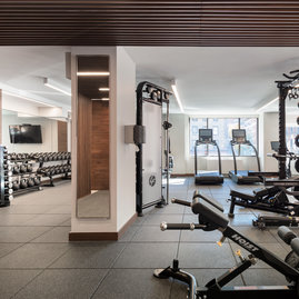 The in-building, residents-only fitness center is equipped with state-of-the-art machines.