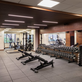 The on-site fitness center is available only to residents.