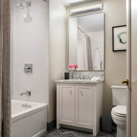 Second bathroom allows extra space and storage for family and guests.