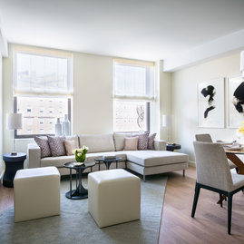 Experience premium brushed wide plank wood floors in your luxury rental apartment.