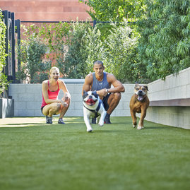 The pet-friendly Emerson features an on-premises pet spa and an on-site dog run.